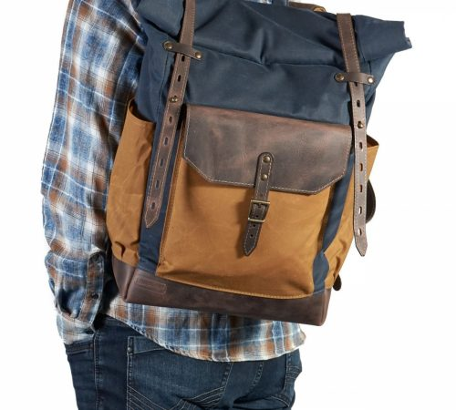 InnesBags_04_Navy-blue-yellow-Roll-top-backpack-with-canvas-pocket